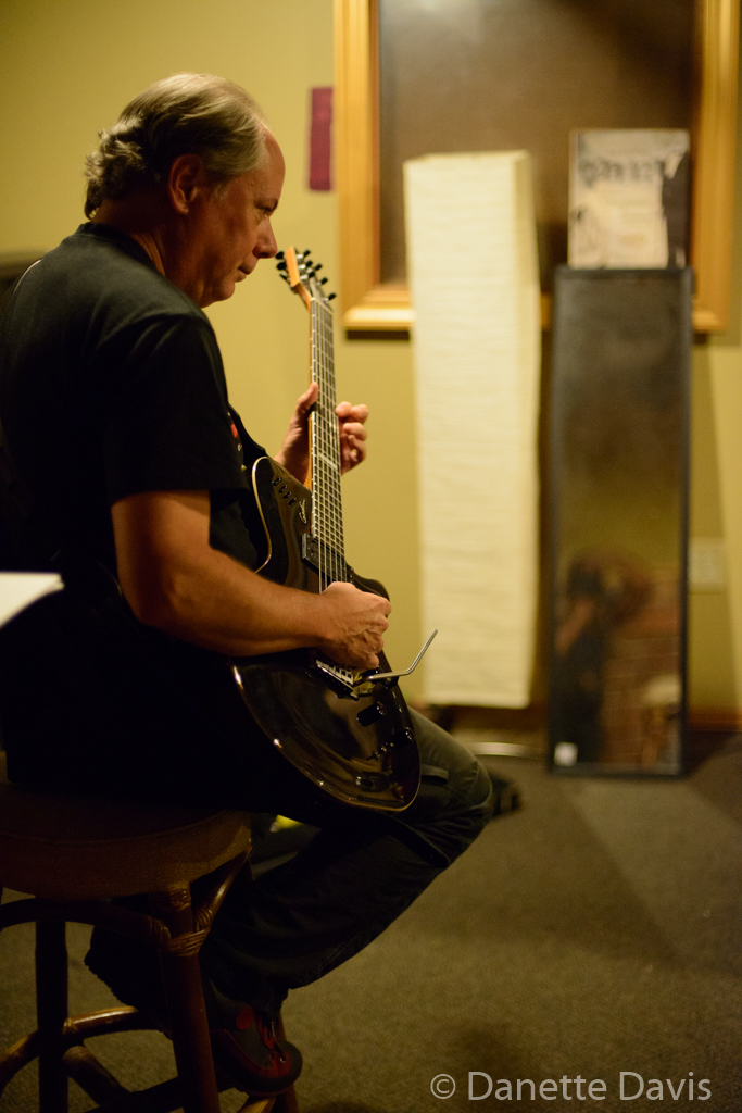 Dennis Rea warms up backstage, Seaprog 2015, Columbia City Theater, 9 August, 2015. (Photo by D. Davis)