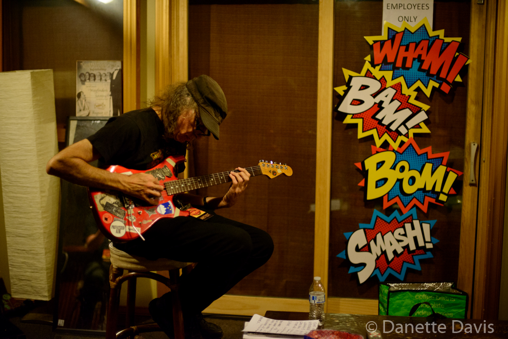 Jack Endino warms up backstage, Seaprog 2015, Columbia City Theater, 9 August, 2015. (Photo by D. Davis)